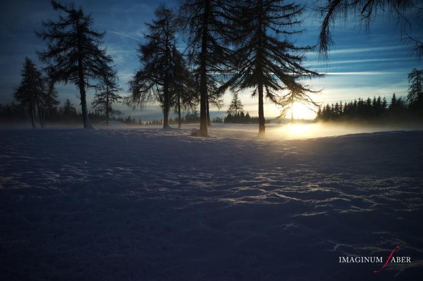 Winter sunset, Langfenn, Überetsch, South Tyrol, Italy